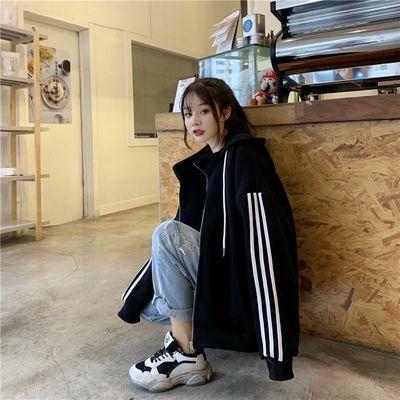 [新款]加绒加厚冬季韩版潮大码宽松连帽外套女装2019新款卫衣服开