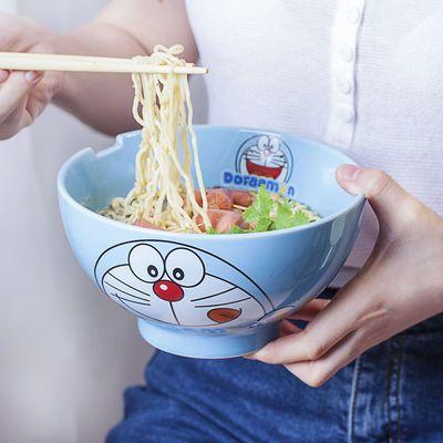哆啦a梦卡通碗可爱陶瓷碗单个学生宿舍泡面碗7寸大碗汤碗面碗家用