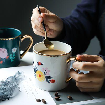 复古金边陶瓷马克杯家用水杯茶杯咖啡杯办公室水杯礼物情侣杯