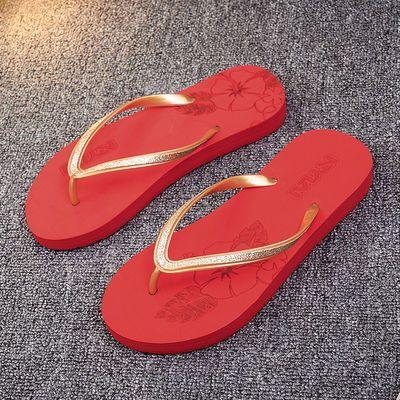 时尚印花人字拖女士沙滩鞋厚底防滑夏季学生海边旅游度假夹脚拖鞋