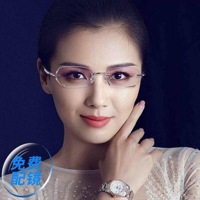 防辐射眼镜女护眼平面无度数电脑手机防半框潮近视平光眼镜