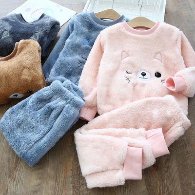 儿童睡衣2021冬季双面绒男宝宝套装法兰绒婴儿家居服女童冬装保暖