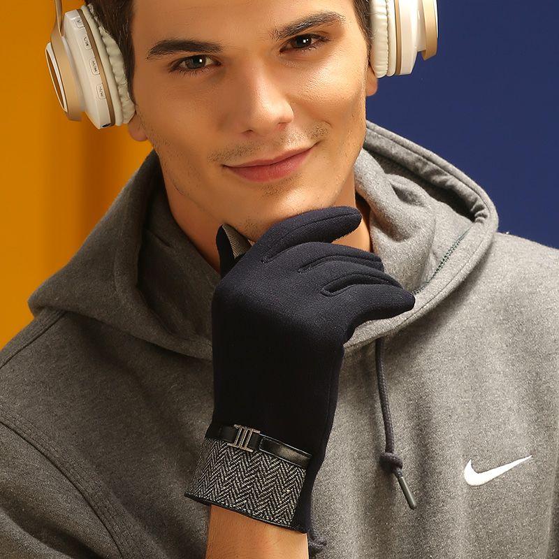 曼迪斯手套男秋冬加绒加厚保暖时尚舒适弹性绒布简约分指男士手套