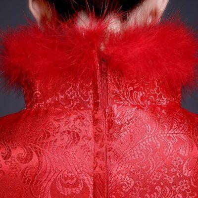旗袍唐装敬酒服加厚2019冬季新款新娘结婚礼服红色长款长袖夹棉