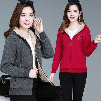[新款]妈妈装卫衣女冬季加绒加厚外套2019新款中年女装大码休闲开