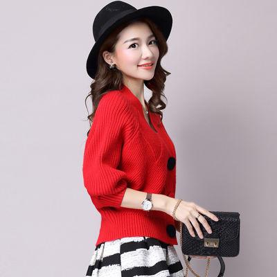 新款春秋季针织衫女开衫短款宽松韩版长袖V领百搭纯色毛衣小外套