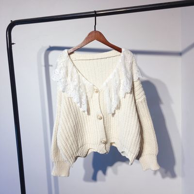 韩国东大门蕾丝边毛衣外套女V领宽松甜美学院风开衫珍珠扣针织衫