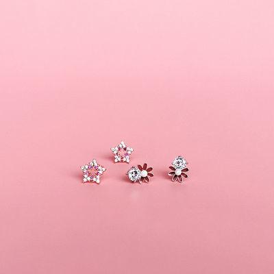S925纯银新款小清新耳钉女甜美气质小红花镶钻防过敏简约百搭耳饰