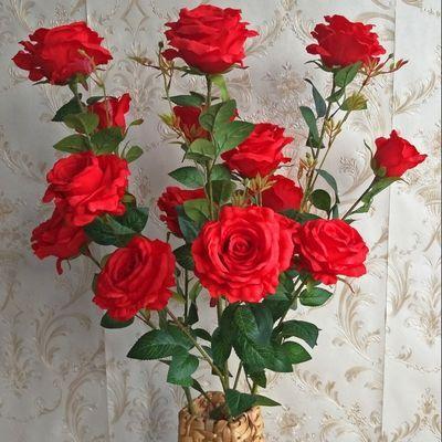 特价仿真玫瑰花假花套装客厅餐桌单支装饰婚庆花干花花束摆件摆设