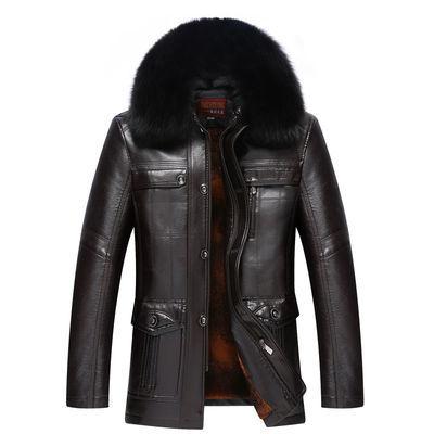 中老年皮衣男装秋冬季中长款加绒加厚中年人爸爸装毛领皮夹克外套