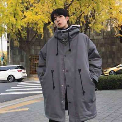子俊男装冬季羊羔毛棉服中长款加厚棉衣韩版宽松潮流连帽棉袄外套