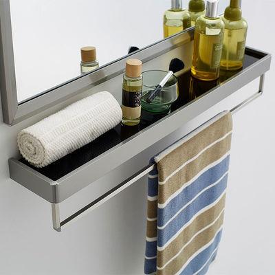 不锈钢浴室置物架卫生间壁挂双层毛巾架卫浴架带杆打孔搭配镜子用