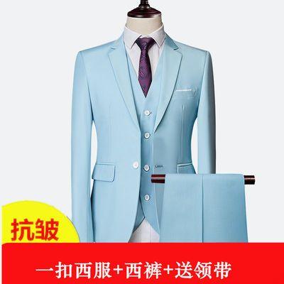 西服套装男士韩版修身三件套西装商务职业正装男新郎伴郎结婚礼服