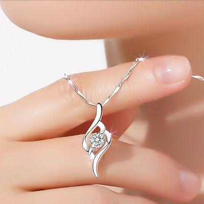 项链纯银吊坠锁骨链ins简约气质银饰情人生日圣诞节礼物送女友潮