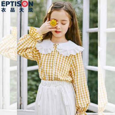 衣品天成童装2020秋装新款女童中大儿童韩版洋气纯棉蕾丝格子衬衫