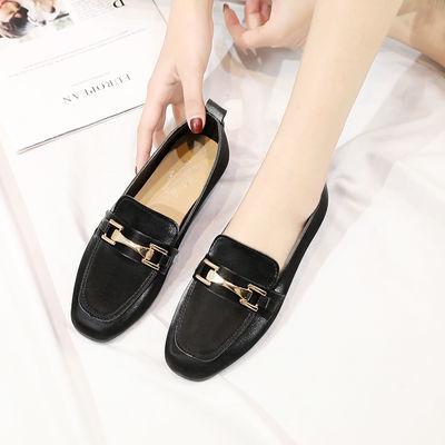 2020新款单鞋女时尚学生韩版平底防滑豆豆鞋女百搭低帮鞋方头女鞋