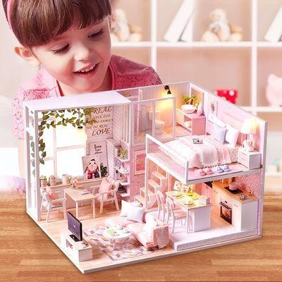 木质拼装房子手工diy3D立体拼图模型儿童益智玩具小女孩生日礼物