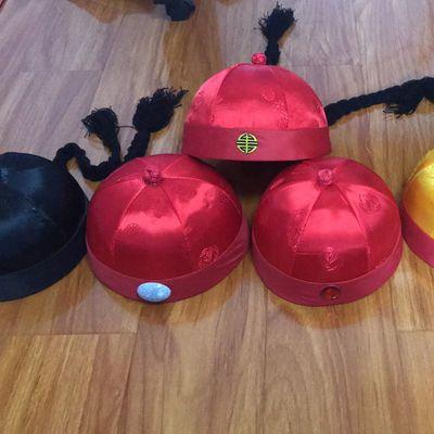新年红色地主帽,瓜皮帽古代少爷阿哥帽子。