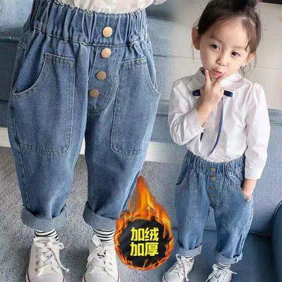 女宝宝加绒牛仔裤1-外穿2儿童秋冬装长裤一二岁半3周5男童棉裤子