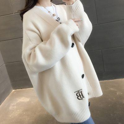 2019秋季新款宽松开衫女韩版V领纯色针织衫很仙的百搭毛衣外套女【3月8日发完】