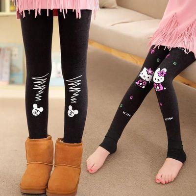 儿童运动装女女童喇叭裤五岁男童套装夏恤男女童打底裤冬款加绒加
