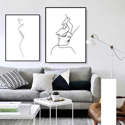 北欧风客厅装饰画现代简约创意极简艺术抽象卧室线条个性ins挂画