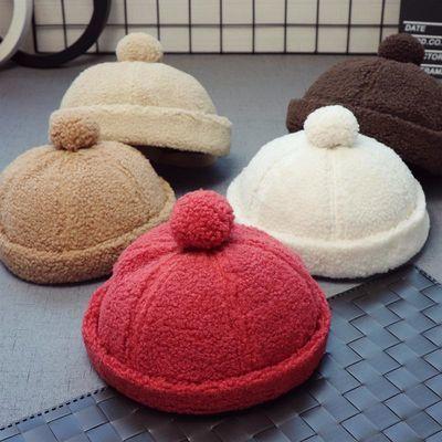 韩版儿童地主帽秋冬款男女儿童羊羔绒加厚保暖毛球户外宝宝地主帽