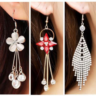 韩版防过敏耳环 长款红色珍珠耳环耳坠女 气质百搭个性流苏耳饰