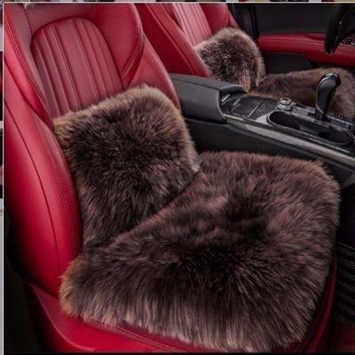 冬季汽车羊毛绒坐垫三件套无靠背单片后排长毛小三件方垫通用坐垫