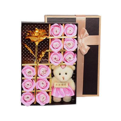 小熊玫瑰花透明花熊浪漫礼盒永生花送女友女朋友香皂花生日礼物熊