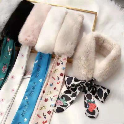 围巾女冬款可爱保暖毛绒围脖女网红学生韩版百搭仿濑兔毛加厚毛领
