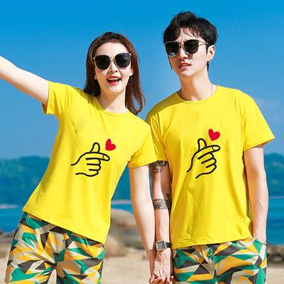 情侣装海南三亚泰国海边度假黄色男女短袖t恤沙滩旅游两件套套装