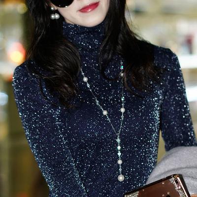 2020春冬装韩版高领加绒网纱打底衫女长袖T恤百搭修身打底上衣服