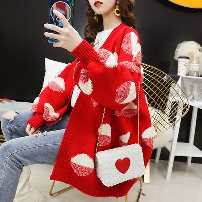 加厚红色毛衣开衫女中长款春装2019新款宽松韩版慵懒风针织衫外套