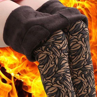 加绒妈妈裤中老年打底裤秋冬装中年女装外穿大码花裤加厚保暖棉裤