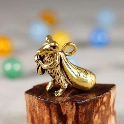 手工黄铜黄金袋鼠铜鼠背钱袋铜鼠钱纯铜钥匙扣鼠挂件礼物