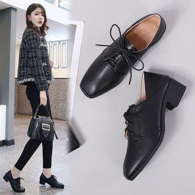 英伦风小皮鞋女学生复古系带百搭学院风工作女鞋韩版社会黑色鞋子