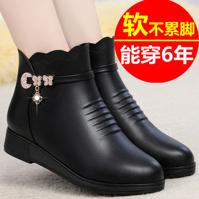 妈妈棉鞋女防滑冬季真皮平底平跟皮鞋女短靴加绒中老年女士棉靴女