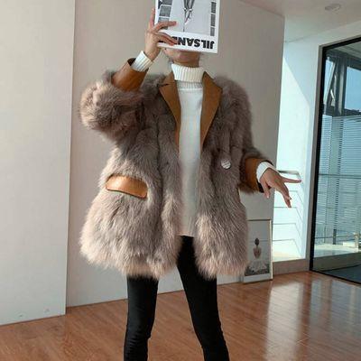 海宁2019秋冬季韩版新款狐狸毛PU皮毛一体中长款仿皮草外套女装