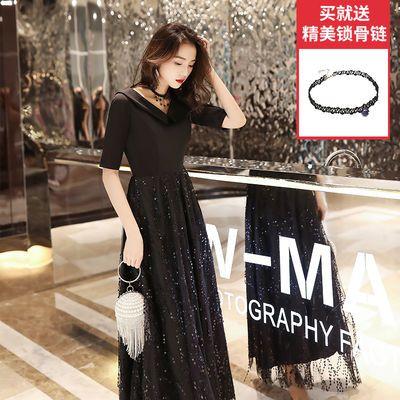 黑色礼服裙亮片超仙气质晚礼服女2020新款春季公司年会显瘦长裙