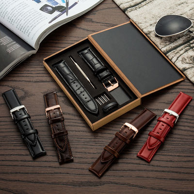 代用dw手表带男女通用真皮表带ck天王手表平纹黑色-银色针扣配件