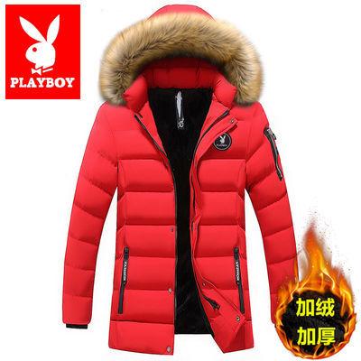 花花公子本命年大红男羽绒服学生韩版中青年潮流加绒加厚袄子外套