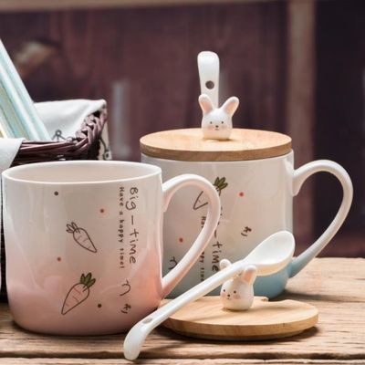 陶瓷马克杯水杯子创意咖啡喝水杯猫咪和鱼勺子塑料杯带盖兔子kk