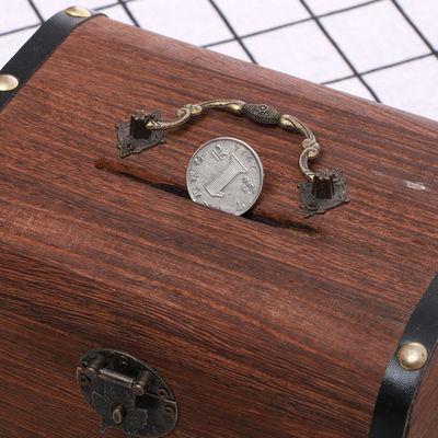 复古存钱罐成人儿童带锁储蓄罐宝宝抖音纸币硬币钱箱防摔木百宝箱