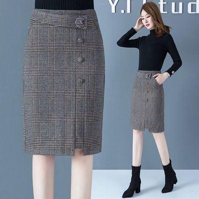 格子裙半身裙中长款秋冬季2019新款毛呢短裙包臀裙一步裙仙女裙子