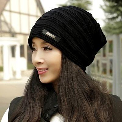 【加绒加厚】帽子女秋冬天保暖毛线帽韩版男针织帽时尚百搭套头帽