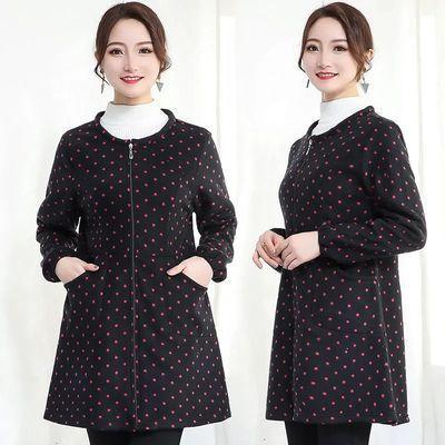 罩衣成人女秋冬季韩版拉链外套羽绒服护衣长袖厨房围裙时尚工作服