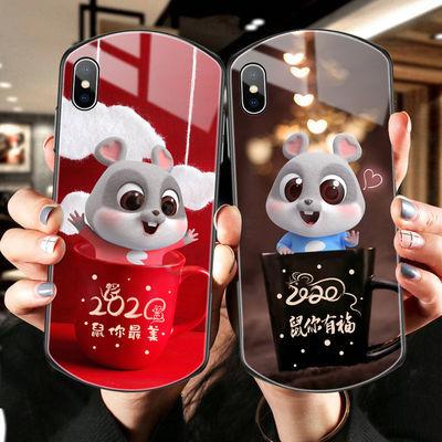 鼠年新款苹果11手机壳xr椭圆形8plus男女6s玻璃iphone7防摔游戏壳