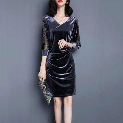 加绒/常规气质淑女裙子新款ol大码女装修身连衣裙秋冬韩版职业裙