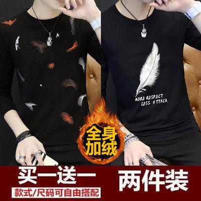 春秋男士加绒长袖t恤韩版潮流印花T恤青年打底衫大码男装